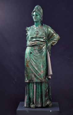 """Exhibition: 'Power and Pathos: Bronze Sculpture of the Hellenistic World' at the J. Paul Getty Museum, Getty Center, Los Angeles. http://artblart.com/2015/10/28/exhibition-power-and-pathos-at-the-j-paul-getty-museum-getty-center-los-angeles/ Art work: Athena """"The Minerva of Arezzo"""" 300-270 B.C. Bronze and copper"""