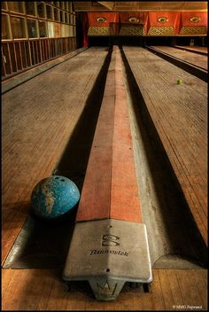 Brunswick bowling alley. Sad to see this is in such bad shape, but still beautiful.