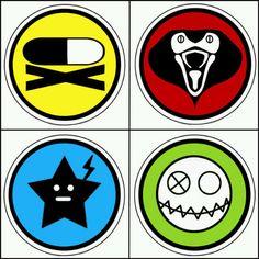 Killjoy symbols: Party Poison, Kobra Kid, Jet Star, and Fun Ghoul.
