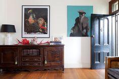 Love this door from the home of Alex Zabotto-Bentley via Design*Sponge Bentley Design, Vestibule, Dark Wood, Curb Appeal, House Tours, Beautiful Homes, Diy Projects, House Design, Front Doors