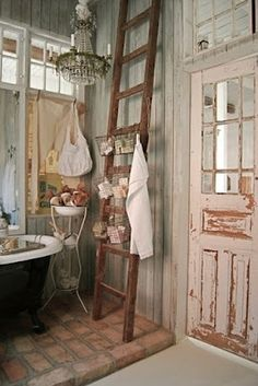 I would love to put all old, mismatched doors in our house. in love with this rustic vintage style