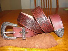 Men's Handcarved Premium Top Grain Leather Belt by ADLEATHERCRAFTS, $159.00