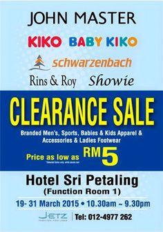 19-31 Mar 2015: John Master, Kiko, Baby Kiko & Schwarzenbach Clearance Sale for Branded Adults & Kids Apparels & Sportswear Discounts