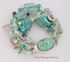 Sea and Dichroic Glass, Ammazonite, Pearl, Thai Silver and Fantasy Charm Bracelet with large Oval Pressed Glass and Silver Box Clasp Closure...