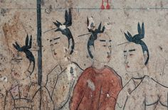 """Close-up of 4 of the female attendants. Notice the detail of their """"flying bird"""" hairstyles. Imagine, this painting is almost 1,500 years old, yet look at the color & detail!"""