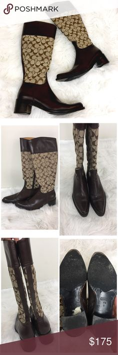 """✨COACH OLIVIA LEATHER BOOTS✨ Brown and tan COACH Olivia leather boots. Classic Coach monogram 'C' pattern. Zippers all the way up inside. Size 7.5. Heel height measures approx. 2"""". Amazing condition!!! Leather is in perfect shape. Coach Shoes Heeled Boots"""