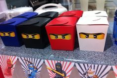 Takeaway box ninjago party favors  This is actually what I am making today.              For Michael
