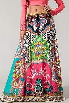 Details about FLYING TOMATO BOHEMIAN MAXI SKIRT VINTAGE 70'S Moroccan Print…