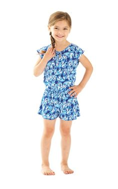 Little Lilly girls need rompers, too. The Pacey Romper is cotton jersey with a smocked waist, and will make her stand out.