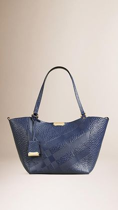 Blue carbon The Small Canter in Check Embossed Leather Blue Carbon - Image 1