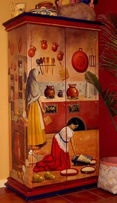 """la cocina"" hand painted cabinet Inspired by the work ""Interior del cocina poblana"", Theophile Pingret, circa 1870,"