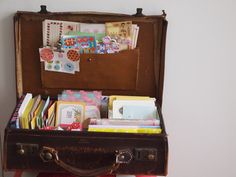 Suitcase to store packaging supplies: tags, biz cards, envelopes, ty notes, small free gifts, address labels, stickers, etc