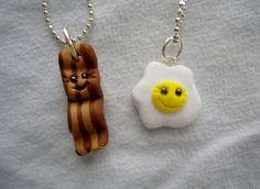 Bacon & Egg Best Friends Necklaces by ArtbyAshLigon on Etsy, $12.99