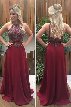 Prom Dress For Teens, A-Line Halter Sleeveless Sweep Train Burgundy Chiffon Prom Dress with Beading, cheap prom dresses, beautiful dresses for prom. Best prom gowns online to make you the spotlight for special occasions. Fitted Prom Dresses, Prom Dresses 2018, Unique Prom Dresses, Popular Dresses, Prom Dresses Online, Simple Dresses, Beautiful Dresses, Evening Dress Long, Evening Dresses