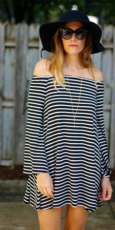 Striped Bardot Bell Sleeves Dress BLACK