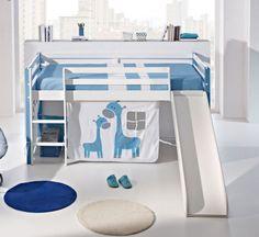 Chambre enfant, chambre   literie, Lit surélevé COMETE en pin massif blanc  et bleu avec toboggan couchage 190 x 90 2efe93180637