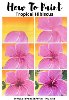 Easy Simply Tropical Hibiscus Painting - Step By Step Acrylic Tutorial Art Painting Tools, Canvas Painting Tutorials, Acrylic Painting For Beginners, Step By Step Painting, Beginner Painting, Kids Painting Class, Easy Flower Painting, Acrylic Painting Flowers, Simple Acrylic Paintings