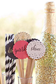 "Sip, Sparkle and Shine - Drink Toppers, New Years Party Circles, Drink Toppers, Cupcake Toppers, Drink Stirrers - 2.5"" Round Party Circles by blushprintables on Etsy https://www.etsy.com/listing/209316403/sip-sparkle-and-shine-drink-toppers-new"