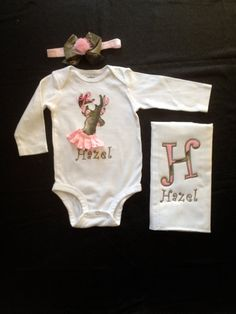 Real tree camouflage personalized girl onesie with by Flatoutfunky, $30.00