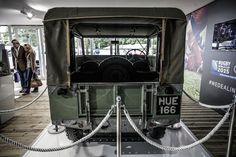 Cabauto with HUE 166 (aka Huey) the world's oldest Land Rover... The first Pre-Production Land Rover Series 1 from 1948 and boasting a massive 50hp, displayed at The Land Rover Burghley Horse Trials 2015 http://www.cabauto.co.uk/ #automotive #manufacturing #landrover #Huey #Hue166