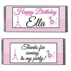 Our Bonjour Pink Paris Candy Bars are 5 1/4 inches x 2 inches. Choose from milk chocolate, milk chocolate crisp, dark chocolate or dark chocolate mint.