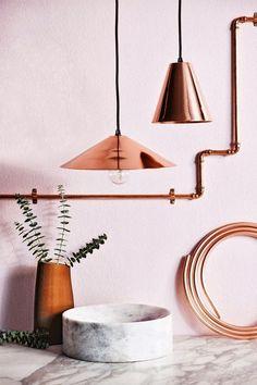 pictures inspired me Marbre et cuivreMarbre et cuivre Metal Pipe, Copper Pipes, Gas Pipe, Copper Metal, Color Cobre, Interior Decorating, Interior Design, Pipe Lamp, Pink Marble