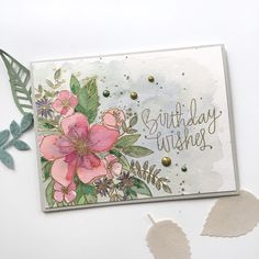 I'm popping by quickly today to show you this set of stamped card blanks that are available in the store at Love is in the D. Journaling, Altenew Cards, Card Patterns, Card Making Inspiration, Pretty Cards, Watercolor Cards, Flower Cards, Butterfly Cards, Card Tags