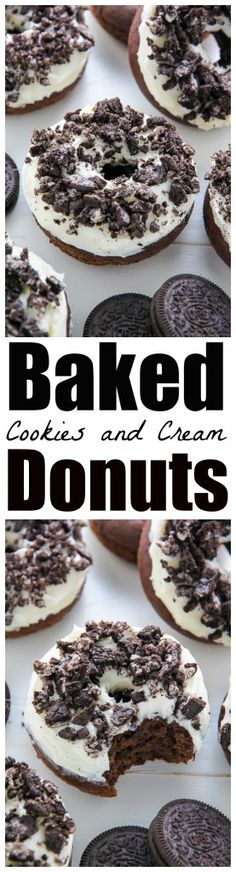 Oreo Cookies and Cream Donuts are baked, not fried, and ready in just 20 minutes! Dreamy. Hello, hello! Today we have a fresh batch of fluffy chocolate donuts topped with creamy vanilla frosting and plenty of crushed Oreo cookies. I think it goes without saying… these donuts are incredible! So let's get down to business… …