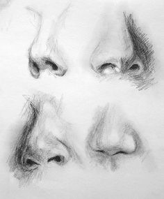 Drawing noses in charcoal: