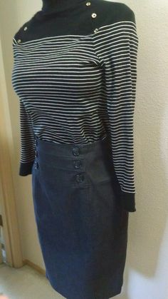 Worthington Double Breasted Nautical Lined Brushed  Denim Look Navy Skirt Sz 10 #Wothington #Pencil #Career