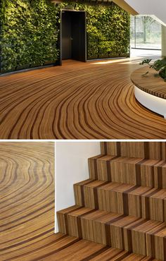 The wood floor of this office atrium has been designed to represent the growth-rings of a tree. #WoodFloor #FlooringIdeas #ArtisticFlooring #SculpturalFlooring Wood Design, Custom Design, Cork Wall, Stair Steps, Polished Concrete, Dutch Artists, Modern Landscaping, Wood Floor, Atrium