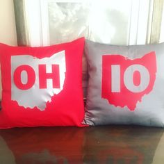Show your Buckeye pride with these OH-IO pillows! - polyester -- Silk Look - 18 inches by 18 inches - Includes pillow insert - Zipper Ohio State Rooms, Ohio State Decor, Ohio State Football, Ohio State University, Ohio State Buckeyes, College Football, Ohio Is For Lovers, Vinyl Projects, My New Room