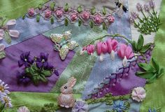 I ❤ crazy quilting . . . bunny and flowers- Spring Garden Round Robin- From: ivoryblushroses