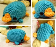 Perry the Platypus - Made to Order - Crocheted amigurumi Plushie Crochet Kawaii, Cute Crochet, Crochet Crafts, Yarn Crafts, Crochet Projects, Sewing Crafts, Knit Crochet, Sewing Projects, Crotchet