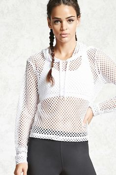 An athletic sheer mesh knit hoodie featuring long sleeves and a boxy silhouette.