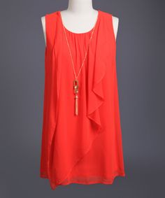 This Perch by Blu Pepper Tomato Ruffle Sleeveless Top - Plus by Perch by Blu Pepper is perfect! #zulilyfinds