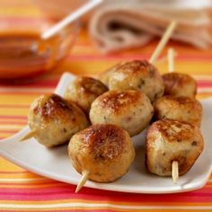 Chicken and apple balls with barbecue dip - a great kid-friendly party food.