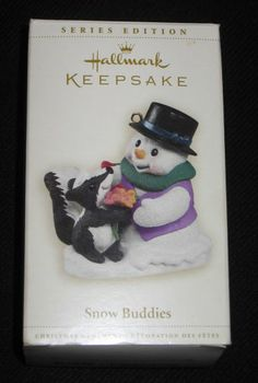 Hallmark Keepsake SNOW BUDDIES 2006 Christmas Ornament Snowman Skunk 9th in Series NEW $5.99