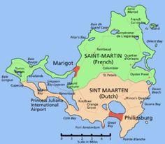 Map of Saint-Martin / Sint Maarten, a small island of the Lesser Antilles shared by France and the Netherlands. Southern Caribbean, Caribbean Cruise, Royal Caribbean, Tanzania, Just Go, Saint Martin Island, Grand Cayman, Barbados Beaches, Guatemala Beaches