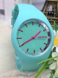 Geneva Fashion Watch - Wholesalers Sample - Save $$ RRP$115 - Mint Green / Red Geneva, Fashion Watches, Mint Green, Unisex, Red, Ebay