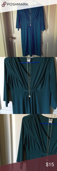 Sangria Dark Teal Dress Size 8 Dark Teal; Cinched Detailing in Middle; 3/4 Sleeves; Purchased at Dillard's; Shows Some Wear (please see last picture); Size 8 Sangria Dresses