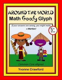 Around the World Math Goofy Glyph (5th grade Common Core) $