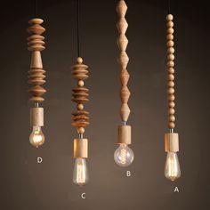 4 modèles / Lot moderne Style nordique salle à manger en bois perles rideau pendentif lampe en bois clair / Brown couleur plafond luminaires eclairage