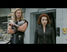 Chris Hemsworth (Thor) and Scarlett Johansson (Natasha Romanoff) in The Avengers (2012)