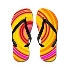 Yellow Pink Orange Swirl Flip Flops on CafePress.com