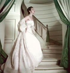 ~Bettina wearing a pink strapless gown and embellished organdy coat from Dior, May 1953, Paris~