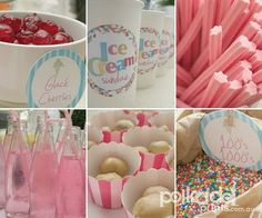 ice cream party ideas - musk sticks, and glace cherries, stripey paper straws. Ice Cream Buffet, Ice Cream Theme, Ice Cream Party, Bar A Bonbon, Sundae Bar, Ballerina Birthday Parties, Rock Star Party, Ice Cream Social, Icecream Bar