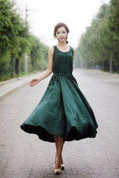 Maxi Summer Dress Emerald Green Long Sleeveless Fit & by YL1dress