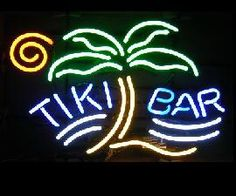 Tiki Bar Neon sign will add to the South Pacific ambiance of you Polynesian bar. Under the  soft glow of this Tiki bar sign, you can imaging yourself sipping Mia Tias out of your Tiki mug as you listen to an exotica band or watch the Polynesian dance floor show...