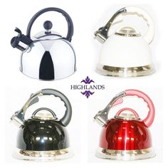 Whistling Kettle Retro INDUCTION Stainless Steel 3.5ltr 2.5l Black Red Cream  #Highlands